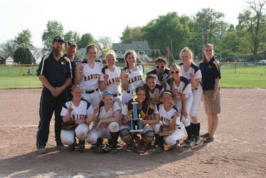 The Manistee softball team poses with its trophy after going 3-0 at the North Muskegon tournament. (Courtesy photo)