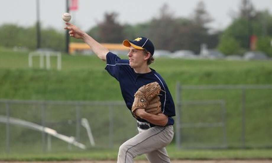 Manistee's Tyler Kempf delivers a pitch during Monday's loss to Big Rapids. (Greg Buckner/Pioneer News Network)