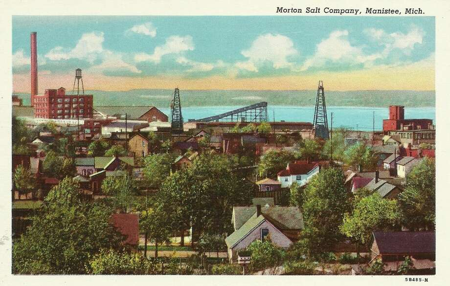 An early 1900s post card showing the Morton Salt plant in Manistee and the homes in that area. (Courtesy Photo/Dale Picardat)