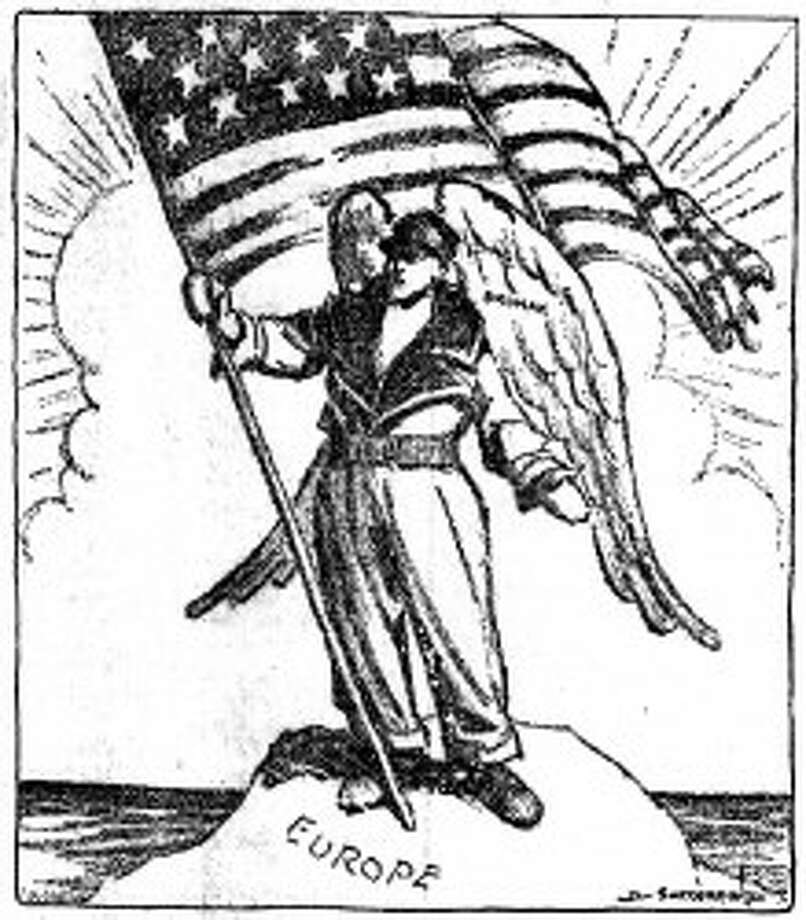 """A political cartoon, titled """"For the glory of America,"""" was published in newspapers across the country in May 1919."""