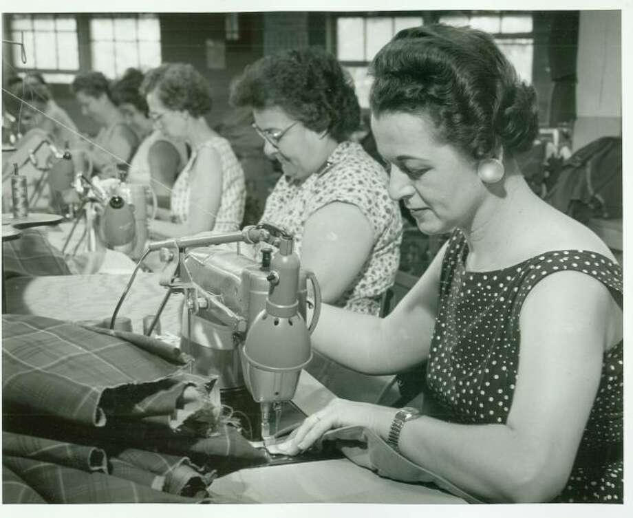 This late 1950s photograph shows the workers at the Glen of Michigan in Manistee who created women's clothing lines.