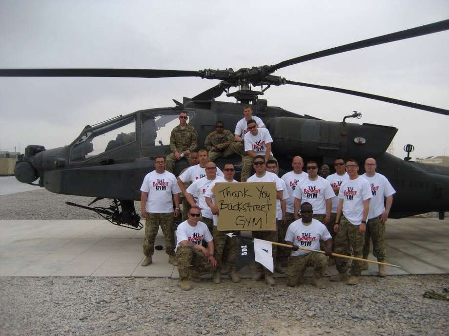 Mary Ellen Jerumbo, who operates the BackStreet Gym in El Paso, Texas, recently donated protein power and T-shirts to a unit from Fort Bliss, Texas that is currently serving in Kandahar, Afghanstan. (Courtesy Photos)