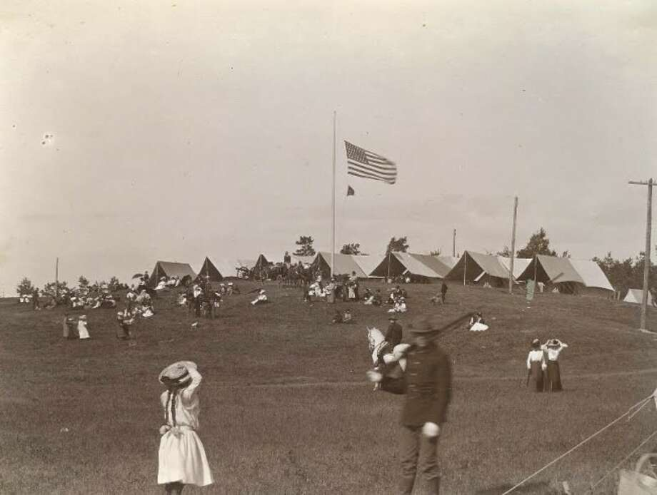 A Michigan National Guard encampment at today's Orchard Beach State Park circa 1903.
