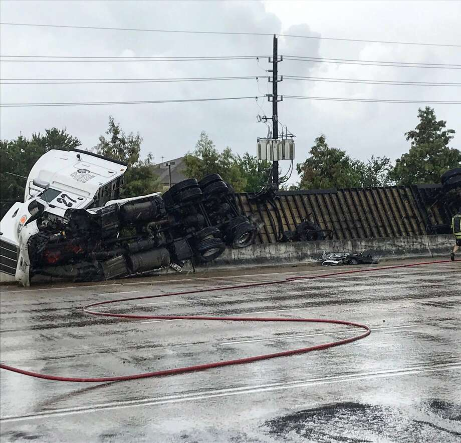 An overturned 18-wheeler closed parts of U.S. 59 in Fort Bend County on Monday. Photo: Texas Department Of Transportation Twitter