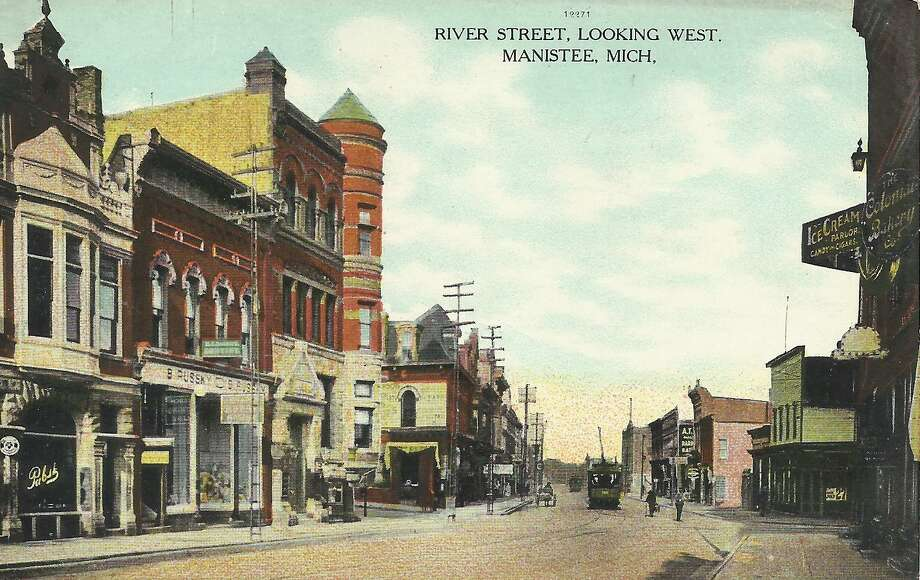 A late 1800s view of River Street in Manistee. (Courtesy Photo/Dale Picardat)