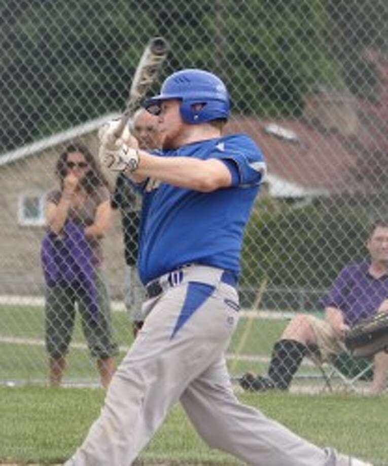 Onekama's Joe Eno hit a home run in Saturday's district final loss to Frankfort. (Michelle Graves/News Advocate)