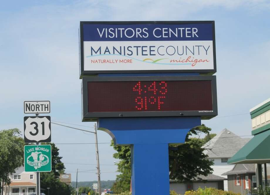 The Manistee County Visitors Center at the corner of U.S. 31 and First Street reported a temperature of 91 degrees on Tuesday afternoon, though it felt more like temperatures in the mid-80s during most of the day. (Logan T. Hansen/ News Advocate)
