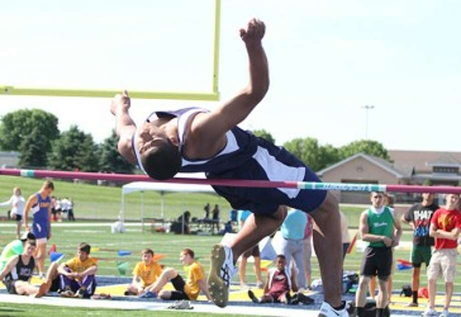 Brethren sophomore James Connolly clears the bar at 5-foot-11 in the high jump in the Division 4 state finals on Saturday at Hudsonville. (Matt Wenzel/News Advocate)