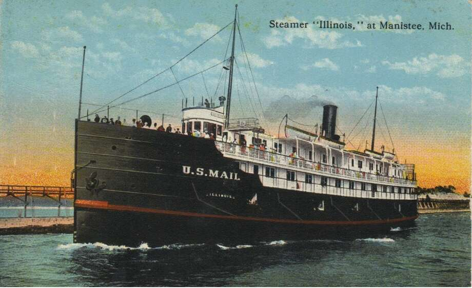 The steamer Illinois leaves Manistee harbor in the early 1900s. (Courtesy Photo/Dale Picardat)