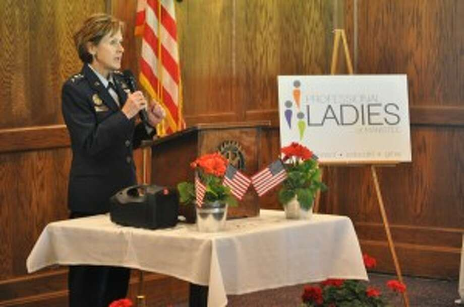 U.S. Air Force Lt. Gen. Judith A. Fedder, a Manistee native and graduate of Manistee Catholic Central, spoke to a crowd on Thursday at the Manistee Golf & Country Club, sponsored by the Professional Ladies of Manistee.