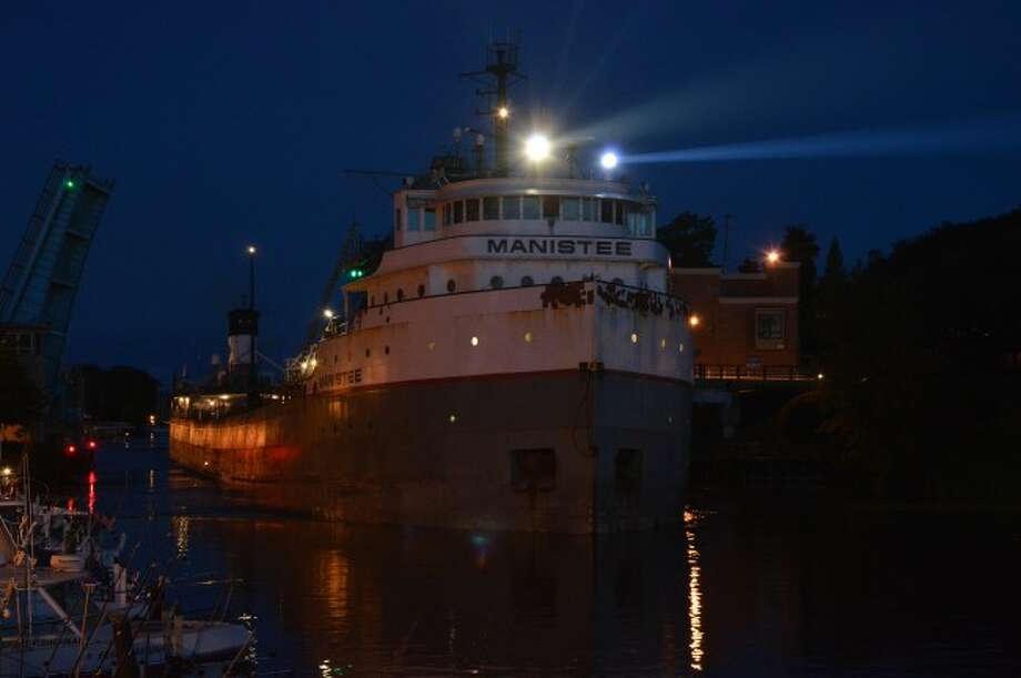 The freighter Manistee made its first visit of the year to the Manistee harbor making a dramatic early morning visit that was viewed by some early risers in the area.