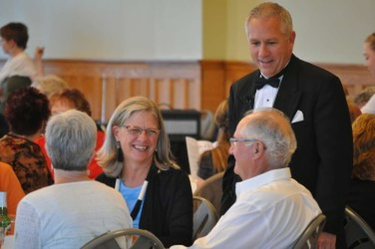 During the Murder at the Ramsdell dinner play, actors visited each table to interact with the audience.