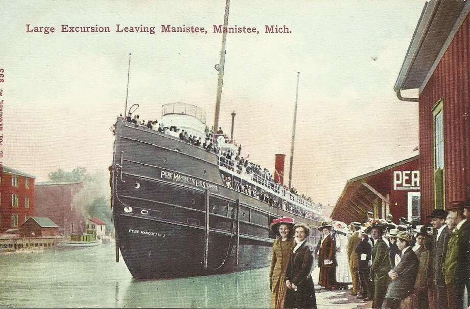 The dock at the Pere Marquette Steamship Company on the Manistee River Channel in the early 1900s. (Courtesy Photo/Dale Picardat)