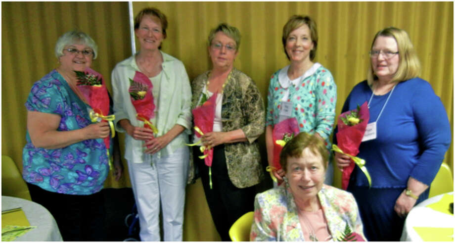 Some of the officers of the Lakeside Club for 2013-14 are (from left to right, standing) Mary Lynn Burchard, trustee; Carolyn Westra, secretary; Jane Reynolds-Pettis, president; Dee Paine, parliamentarian; Peggy Raddatz, treasurer; and (seated) Nanci Hahn, recording secretary. (Courtesy Photo)
