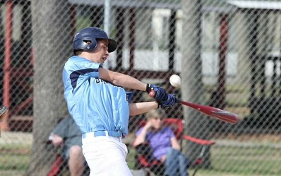 Brethren's Abner Lopez, seen here fouling off a pitch on May 6, was one of four area players selected for the Near vs. Far All-Star Game. (Matt Wenzel/News Advocate file photo)