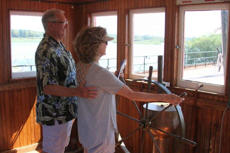 Getting the opportunity to see what it felt like to steer a vessel like the S.S. City of Milwaukee was one of the many fun things people had the opportunity to do during Saturdays open house/reunion of the historic ship.