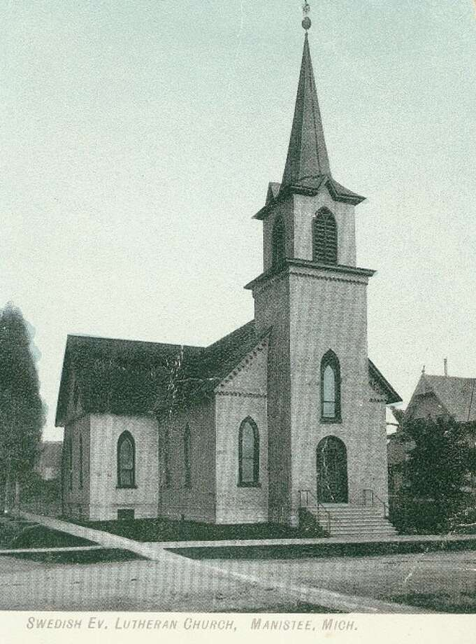 The Swedish Evangelical Lutheran Church in Manistee is shown in this 1920's photograph.