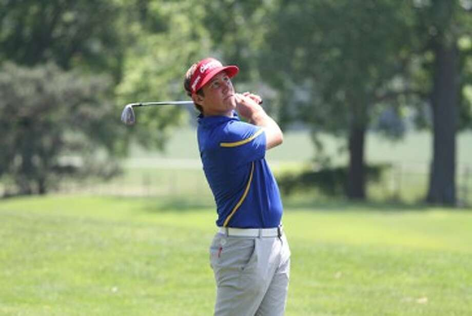 Onekama senior Derek Hobart stares down his second shot on No. 17 at Michigan State's Forest Akers East during Friday's opening round of the Division 4 state finals. (Matt Wenzel/News Advocate)