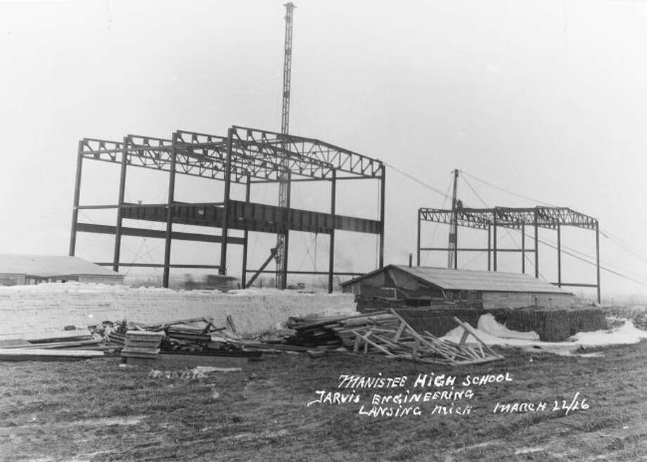 This March 22,1926 photograph shows the framework going up for what would become the Manistee High School building on Maple Street. The building still sits empty behind the current Kennedy Elementary School building.