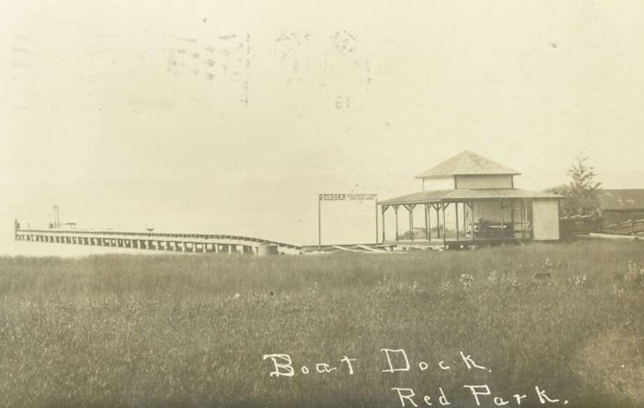 A boat dock at Red Park near Onekama is shown awaiting some boaters in this photograph from the early 1900s.