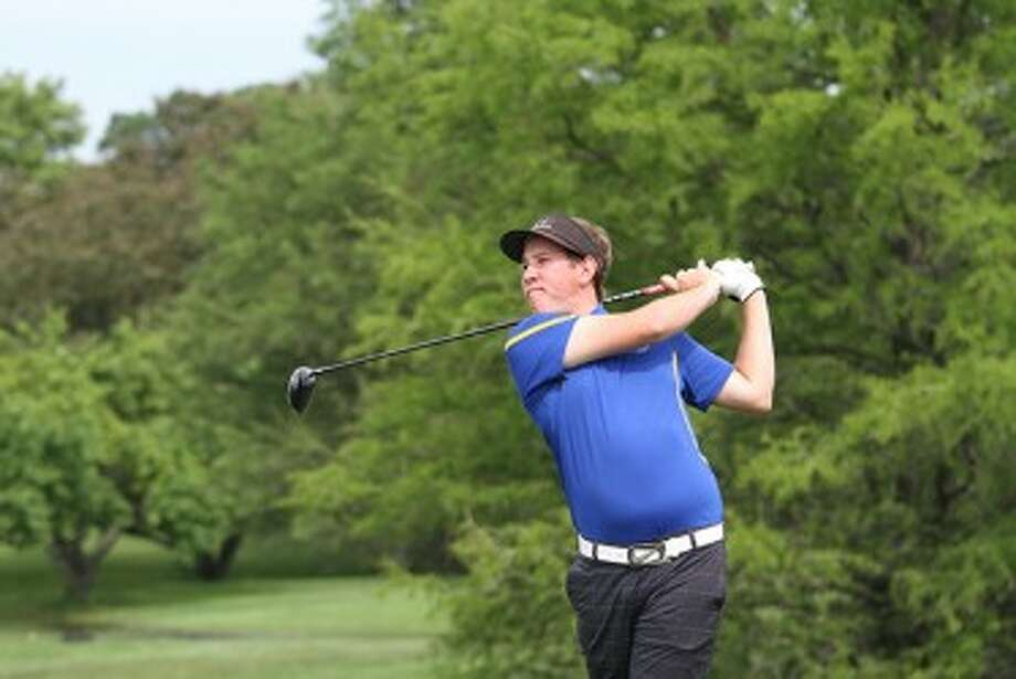 Onekama's Derek Hobart stares down his drive on No. 14 at Forest Akers East on Saturday during the Division 4 state finals. (Matt Wenzel/News Advocate)