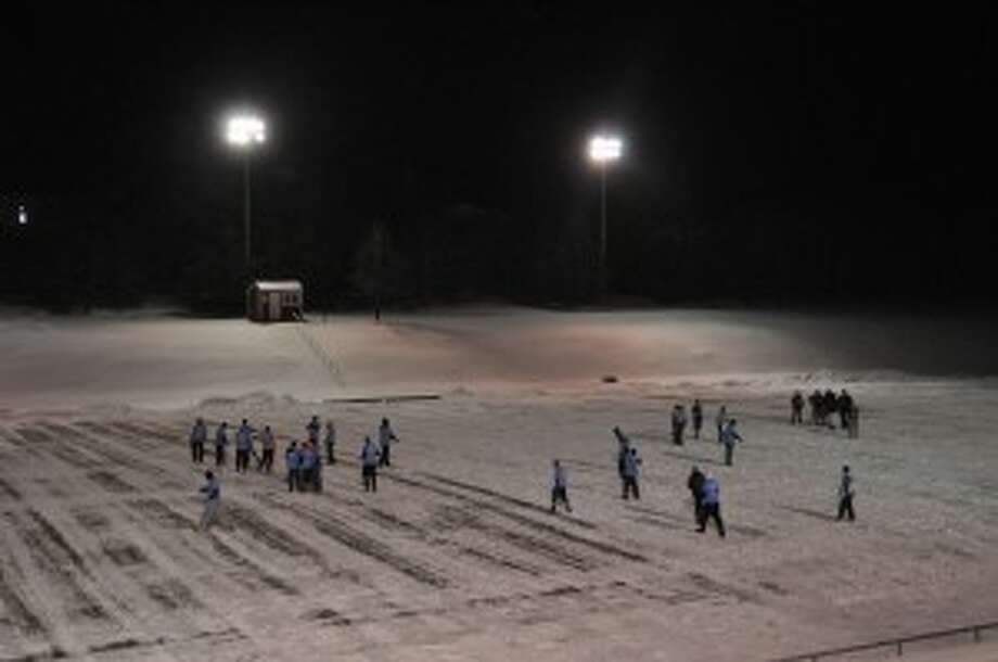 A group of Manistee County students and alumni gathered at Manistee Catholic Central's Saber Stadium on Wednesday for Turkey Bowl 2013.