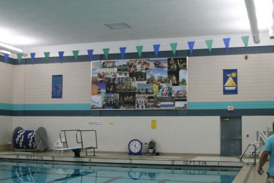 The West Shore Community College Board of Trustees had the opportunity to view this new mural that has been placed in the swimming pool in the recreation center this week.