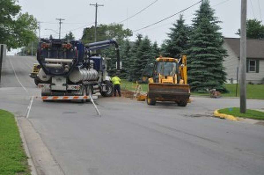 Maple Street between 12th and 14th streets was closed on Tuesday by the Manistee Department of Public Works for water system work.