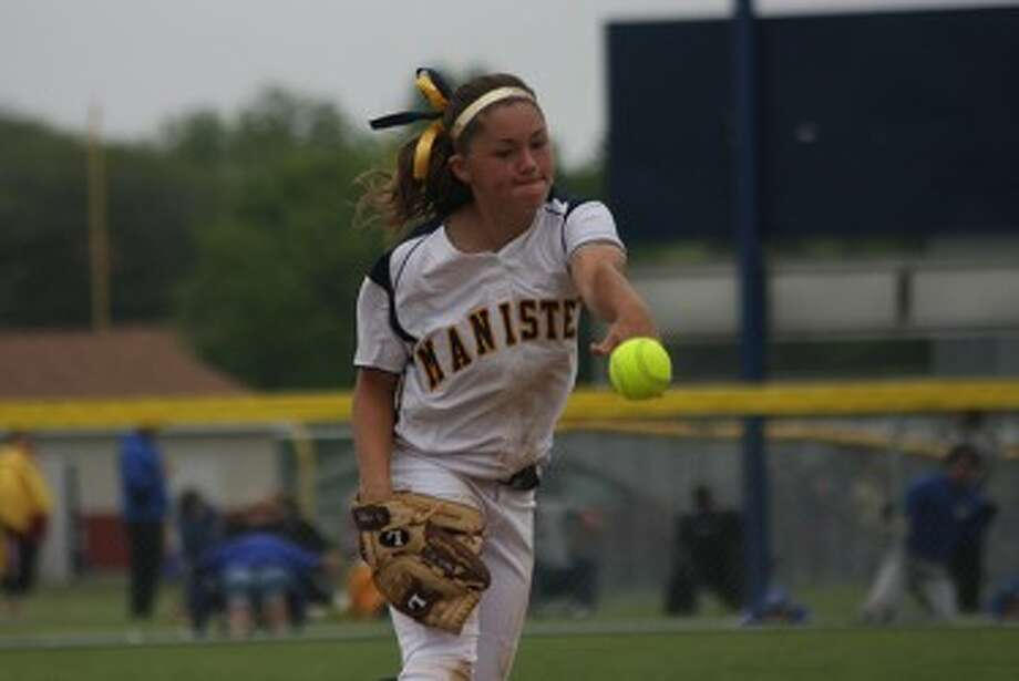 Manistee's Haley Maser delivers a pitch during a Division 3 district tournament on June 1 en route to the Chippewas' sixth straight title. Maser was named an All-State honorable mention pitcher. (Dylan Savela/News Advocate)