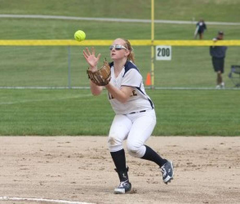 Megan Vander Weele eyes an infield pop-up en route to Manistee's sixth straight district championship on June 1. Vander Weele was named to the Division 3 All-State list as an honorable mention shortstop. (Dylan Savela/News Advocate)