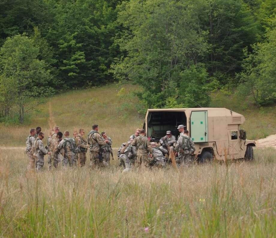 National Guard personnel take a break during their training exercises.