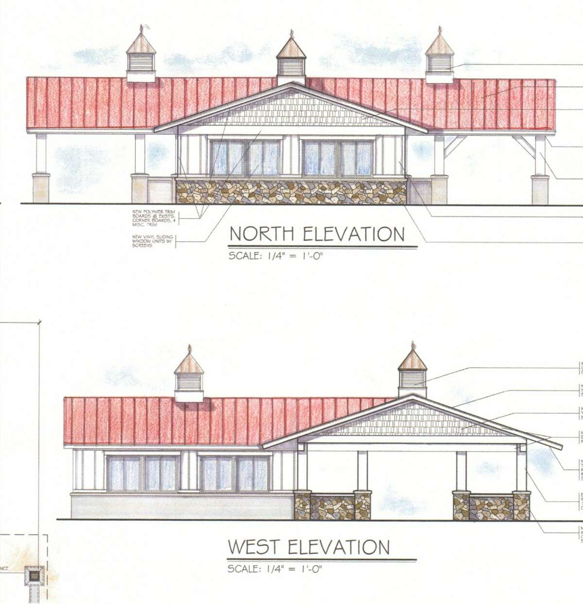 When completed, the refurbished Lions picnic pavilion will fit in with the City of Manistee's master plan for Douglas Park First Street Beach, and also have colors similar to the U.S. Coast Guard Station across the river from the building. Manistee architect Kendra Thompson designed the renovations to the picnic shelters and pavilion.