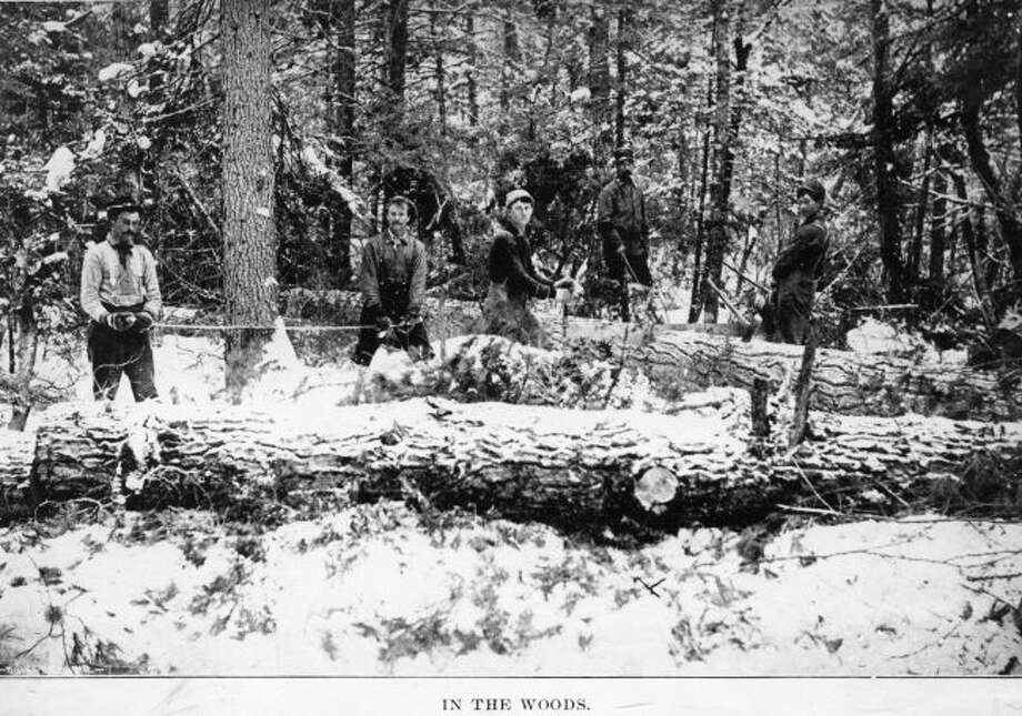 Lumberjacks like the ones shown in this photograph worked throughout the winter months bringing down trees in the woods to ship to the sawmills in Manistee.