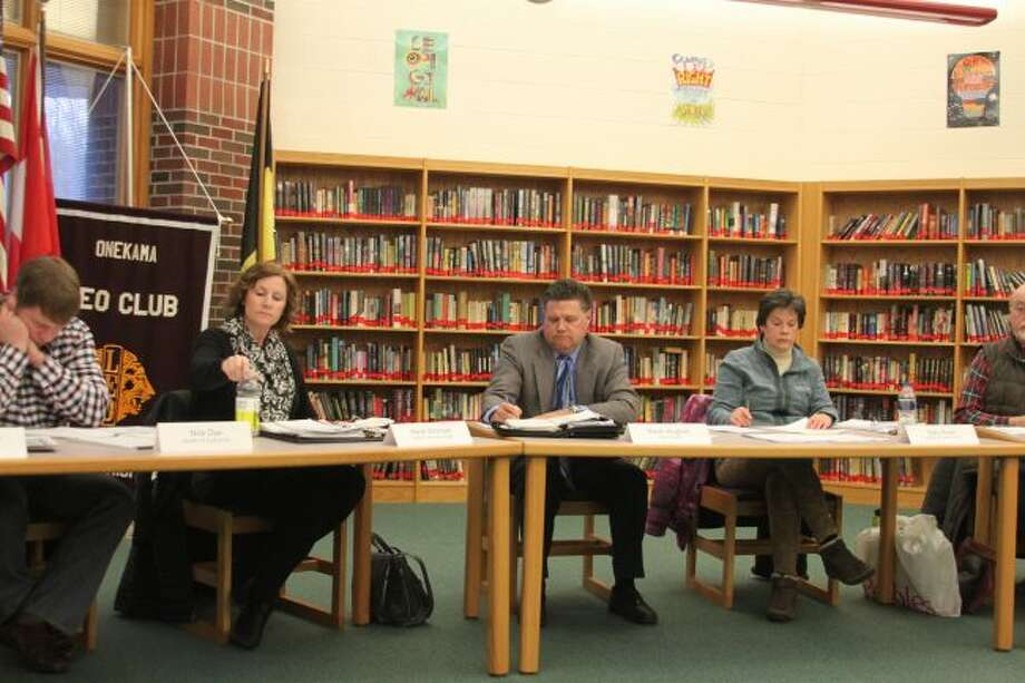Members of the Onekama Consolidated Schools Board of Education continued to look at options for replacing superintendent Kevin Hughes at a special board meeting held Monday. The board is meeting at 5 p.m. in another special board meeting to draw up a job advertisement for an interim superintendent.