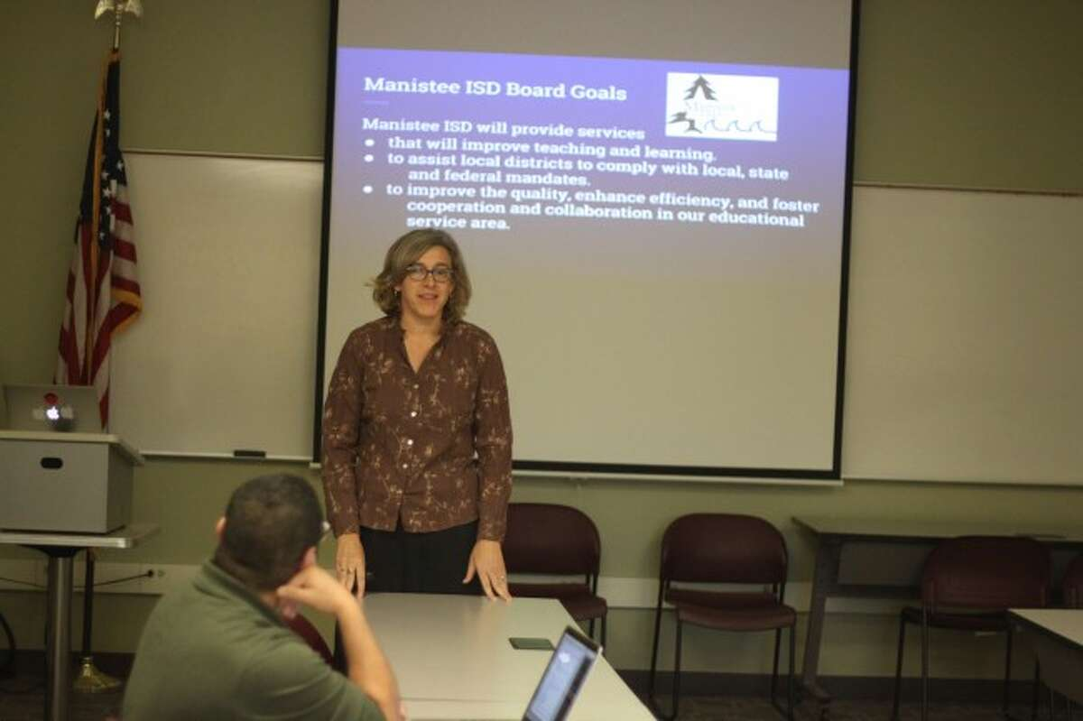 Manistee Intermediate School District General Education director Kay Salyer reported on activities in her department to the board of education.