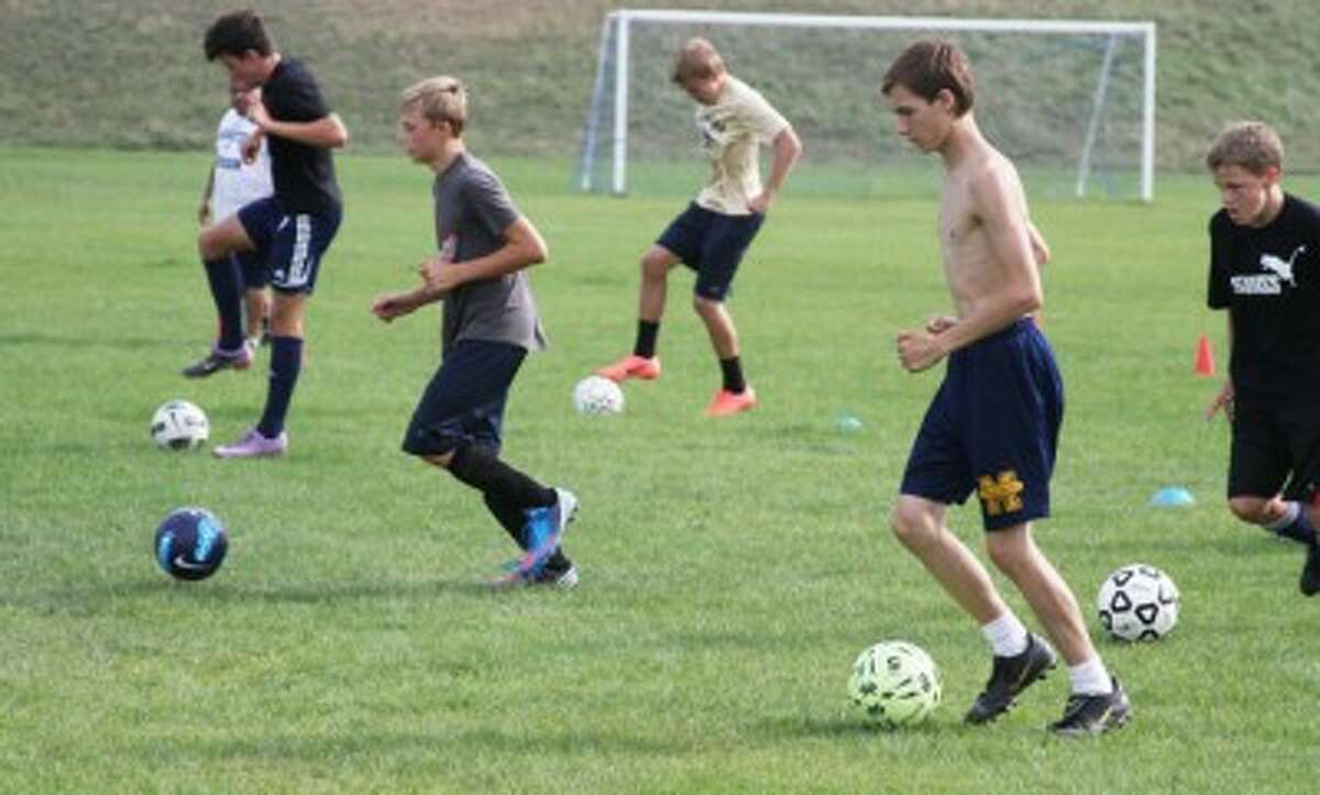 Manistee soccer players go through drills during the first practice of the season on Wednesday. (Dylan Savela/News Advocate)