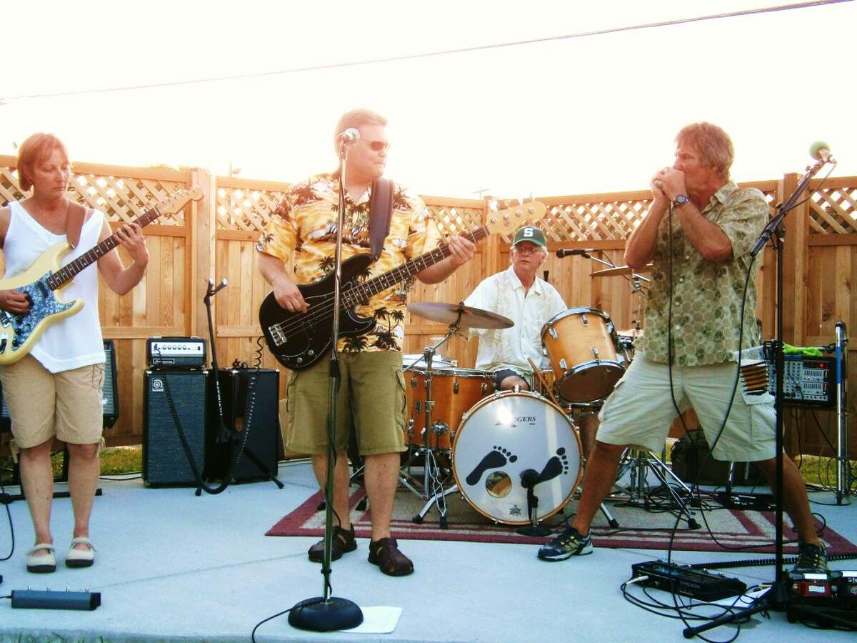 Big Mont and the Magic Moment will perform at the Kaleva Log Cabin Outdoor Theater, Friday evening starting at 7 p.m.. Pictured left to right: Tina Watkins, Barry Seymour, Gibby Watkins, and Monte Klein.