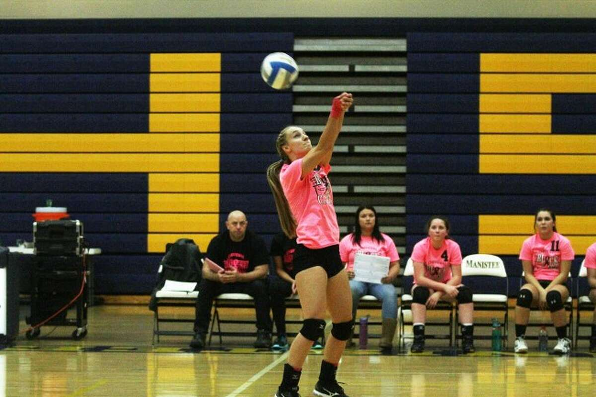 Brian Fogg/ News AdvocateEmilee Kott sends the ball back over in the Chippewas loss on Thursday against Benzie Central.