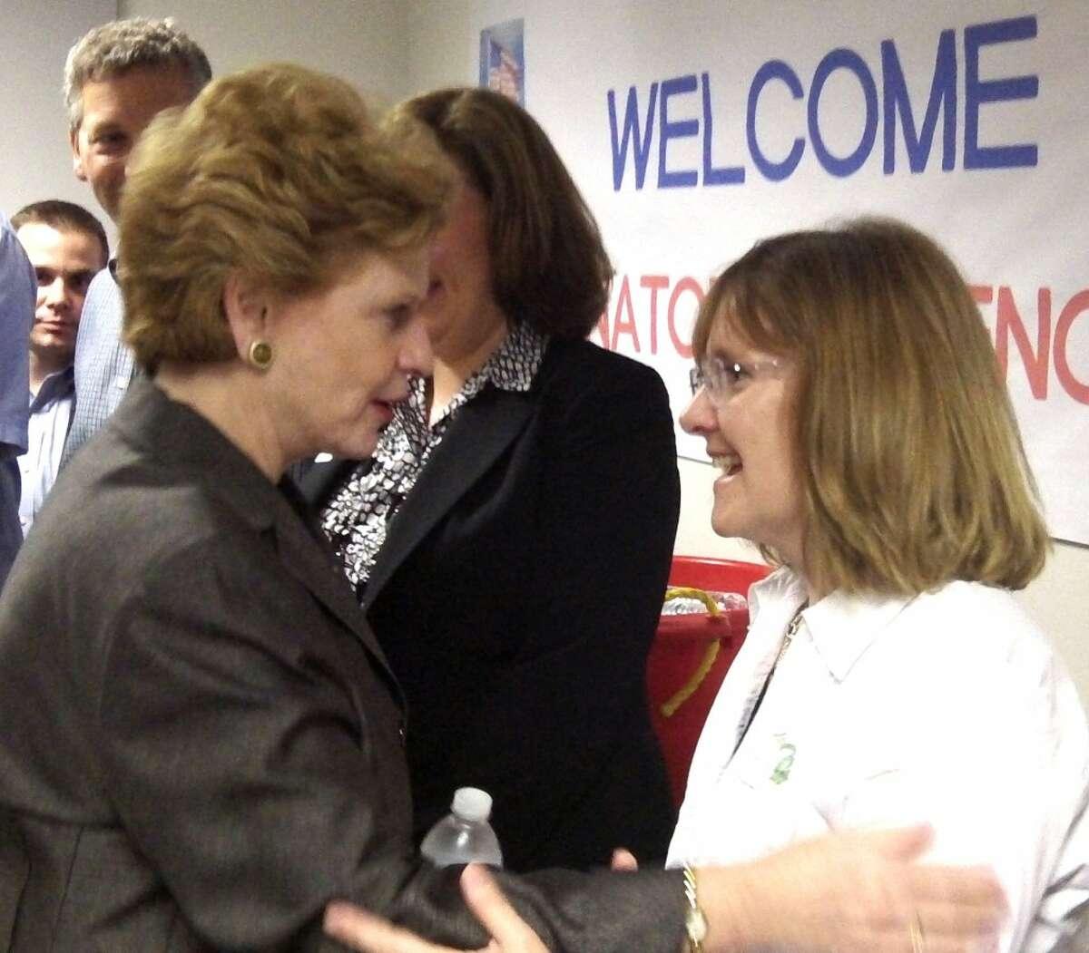 Senator Stabenow with PCA employee and Manistee Mayor Colleen Kenny.