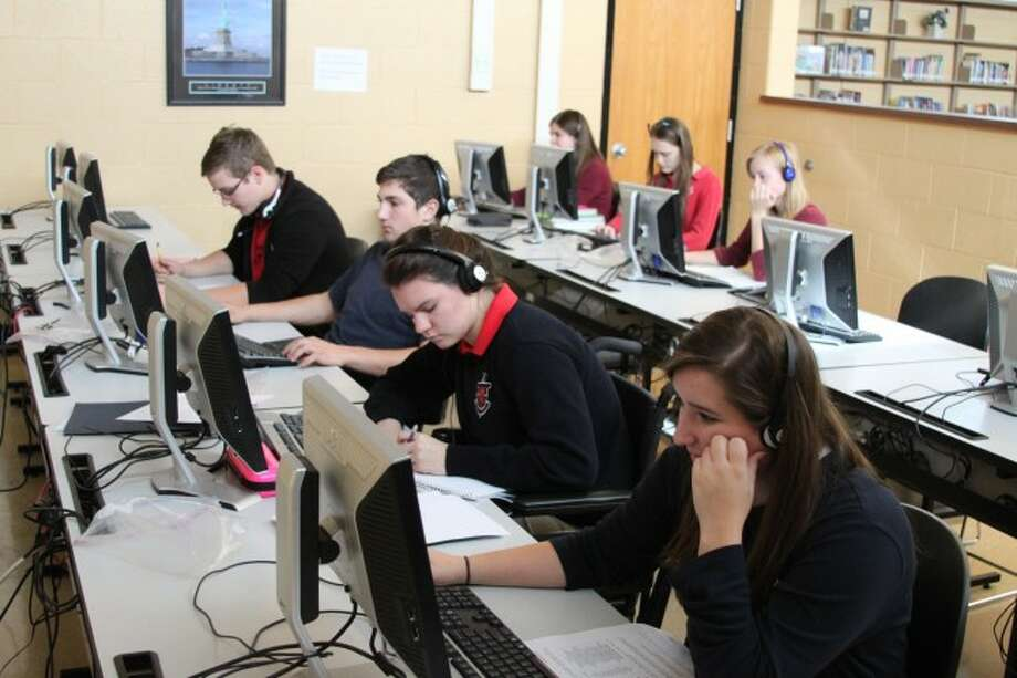 Seniors throughout the county like the ones at Manistee Catholic Central have been applying to colleges this week as part of College Application Week. The program which began last year with Launch Manistee has been a huge success as last year 96 percent of the graduating seniors applied to a college.