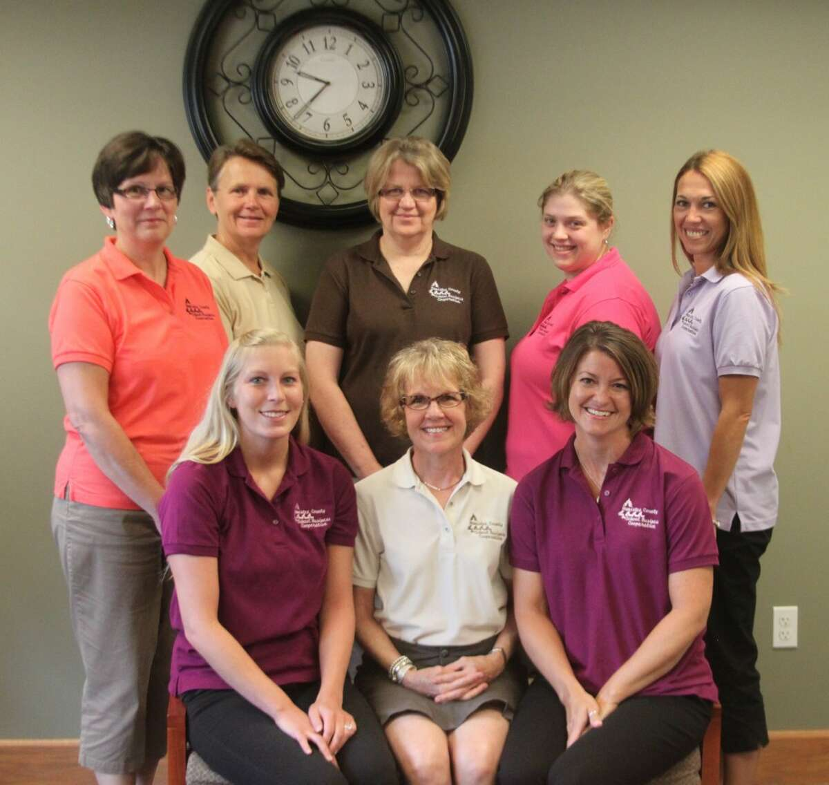 Employees at the Manistee County School Business Cooperative are sitting left to right Ashly Roy, Lucy Gagstetter and Kris Mauntler. Left to right back row:Donna Korzeniewski, Cheryl Miller, Lorraine Lynch, Danielle Kurtz and Leslie Acton. The cooperative provides business services to area school districts. Missing from the photo is Patty Labadie.