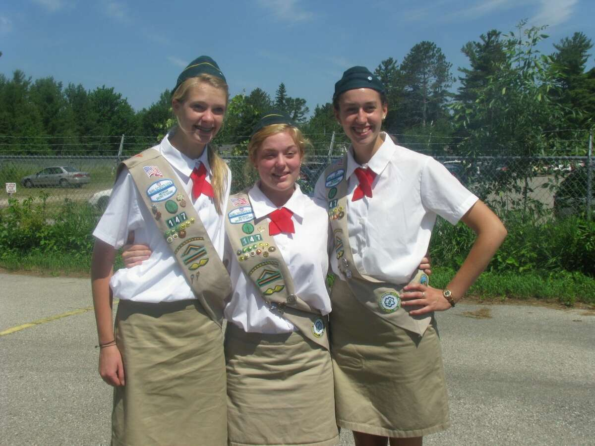 Honor guard Girl Scouts at Mackinac Island this year included Onekama's Kayla Feil, Elizabeth Bergren and Kaylan Fitch. They three girls are part of Girl Scout Troop No. 147.
