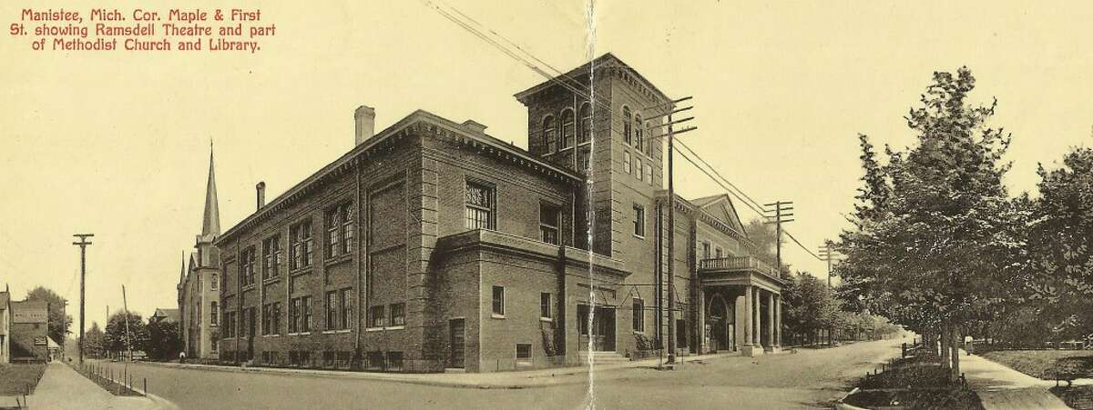 A panoramic photo taking in the early 1900s showing the Ramsdell Theatre with the former Methodist Church building behind it. (Courtesy Photo/Dale Picardat)