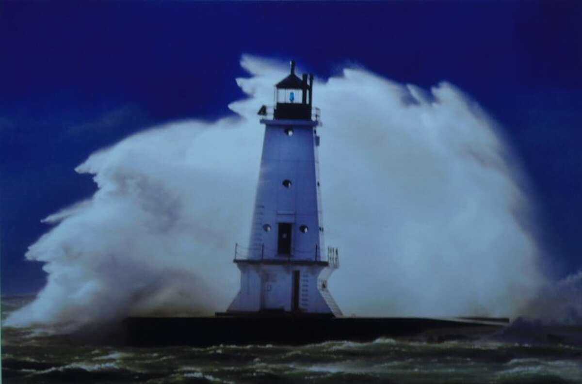 The photography of Rob Alway is featured in the West Shore Community College art presentation of artwork done by the college's faculty. This dramatic shot of the Ludington lighthouse during stormy conditions has been one of his many popular photographs.