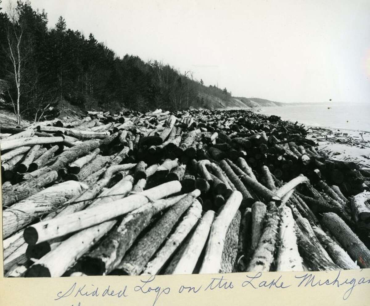 Logs from the lumbering industry are stacked up on the shores of Lake Michigan in this late 1890s photograph.
