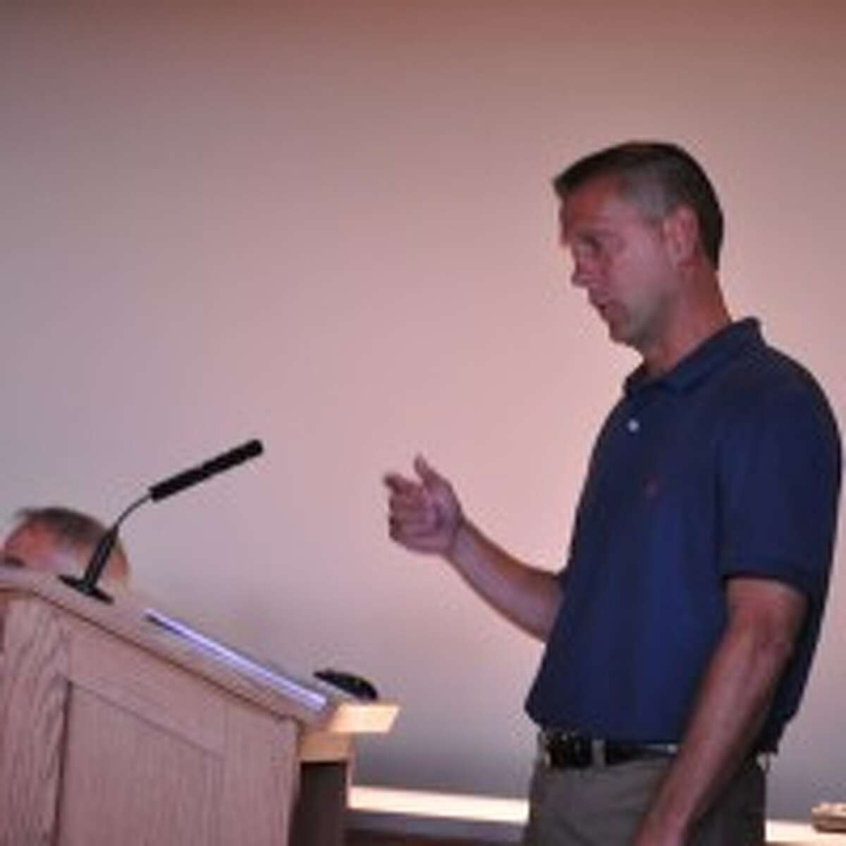 John Groothuis, of Grand Haven, attended Tuesday's Manistee City Council to talk about a proposed redevelopment of south Washington Street.