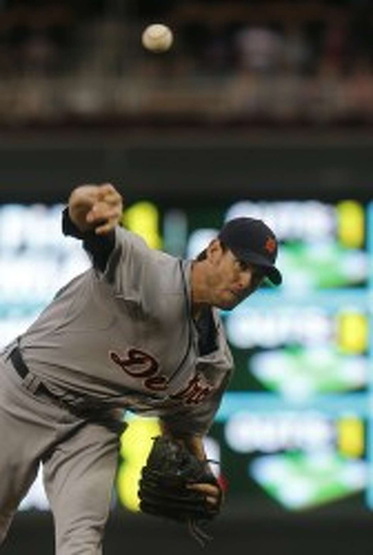 Tigers pitcher Doug Fister didn't allow an earned run in eight innings on Tuesday. (Kyndell Harkness/Minneapolis Star Tribune/MCT)