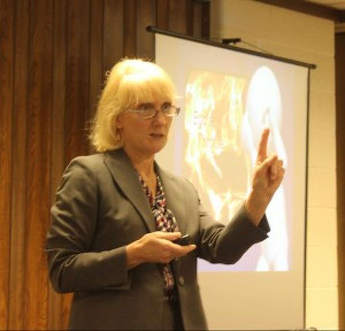Joan Vestrand, who is the dean at Cooley Law School, was the primary speaker for the Restorative Justice program on Wednesday at the First Congregational Church in Benzonia. (Robert Myers/Pioneer News Network)