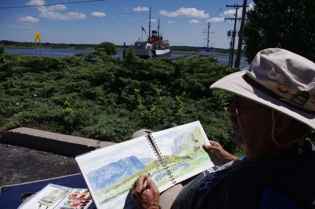 Artist Don Getz has been traveling around the United States since last September doing watercolor painting and offering art classes. His Manistee stop is one of the last on his tour. He said he can teach anyone to draw; and one of the things his local students will be drawing is the S.S. Milwaukee. (Dave Yarnell/News Advocate)