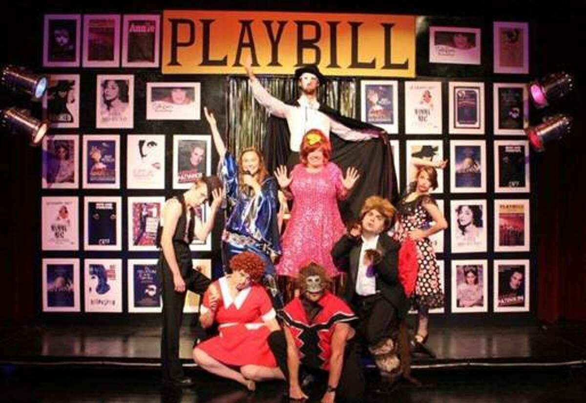Forbidden Broadway's Greatest Hits will continue tonight and Saturday at West Shore Community Colleg. Pictured are cast members Sean Gilbert, Taylor Roberts, Erin Wall, Elliot Plummer, Michelle Kiessel, Abe Krauss, Cody Hodges, and Dani Smith.